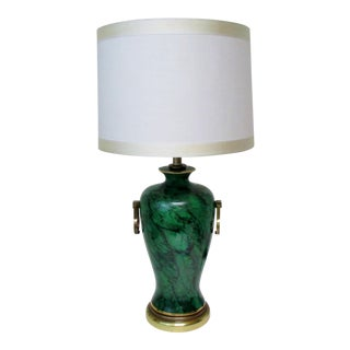 Faux Malachite Ceramic Table Lamp