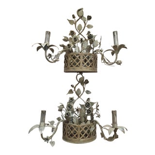 2 Tole French Style Basket & Flower 2-Arm Sconces For Sale