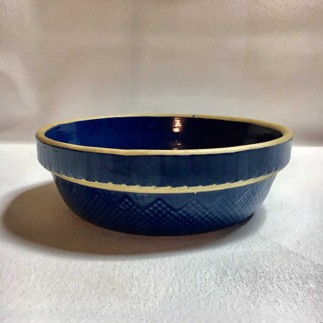 Antique Stoneware Pottery Blue Bowl - Image 4 of 4
