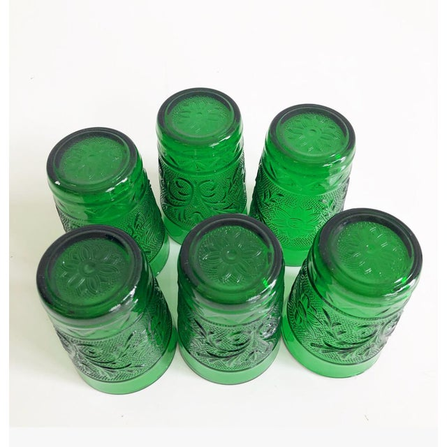 Glass Set of Six Vintage 1960s Kelly Green Juice Glasses For Sale - Image 7 of 8