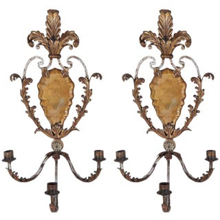 Pair 1900's Italian Tole and Iron Sconces For Sale