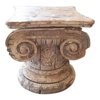 Wooden Iconic Column Capital Table/Fragment For Sale