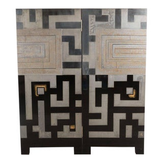 Japanese Mid Century Ornamental Wall Decoration with Abstract Geometric Patterns For Sale