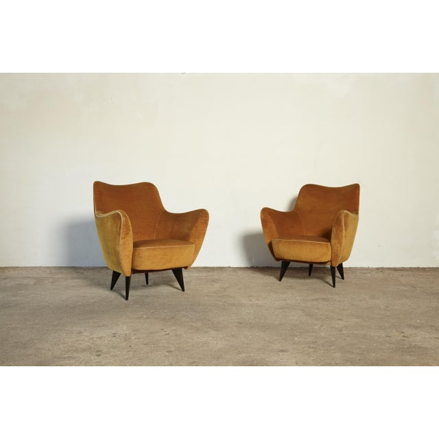 An original pair of Giulia Veronesi Perla Armchairs, I.S.A. Bergamo, Italy, 1950. The yellow/gold velour fabric and piping...