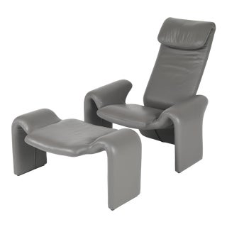 1980's VINTAGE STEVE LEONARD FOR BRAYTON INTERNATIONAL LOUNGE CHAIR & OTTOMAN SET For Sale