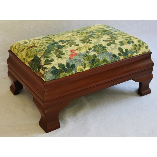 Early 1900s Foot Stool w/ Scalamandre Marly Velvet Fabric - Image 4 of 11