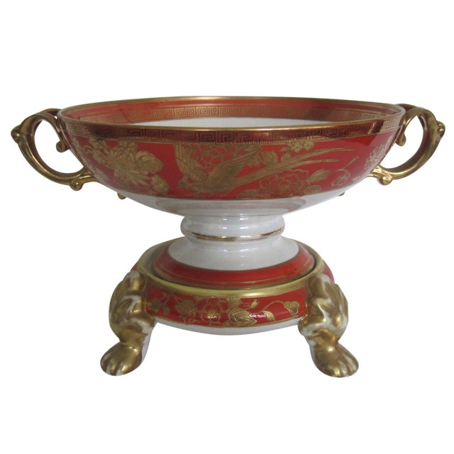 Vintage White, Orange and Gold Tazza with Paw Feet - Image 1 of 11