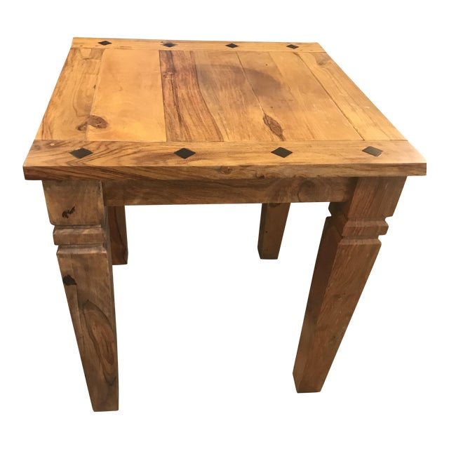 Beautiful Solid Wood Side Table With Inlaid Ebony Diamond Design. For Sale