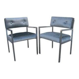 1970s Modern Chrome Armchairs in Greek Key Velvet Upholstery - a Pair For Sale