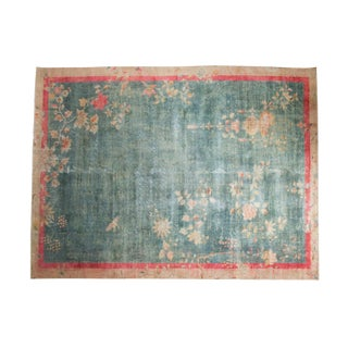 "Vintage Distressed Art Deco Carpet - 7'10"" X 10'5"" For Sale"
