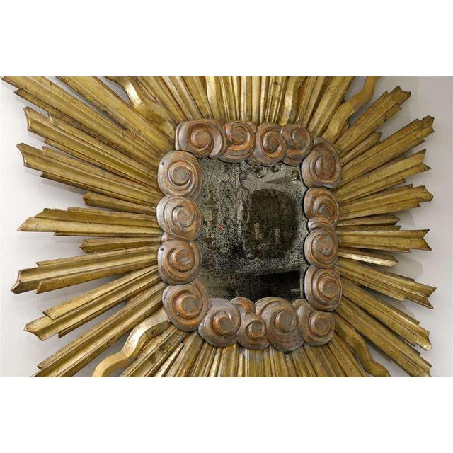 Wood Early 19th Century Italian Gilt Sunburst Mirror For Sale - Image 7 of 11