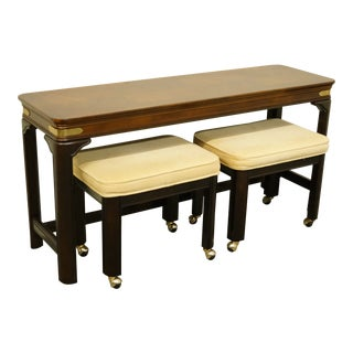 """Asian Gordon's Furniture 54"""" Accent Table With Two Bench Set - 3 Pieces For Sale"""
