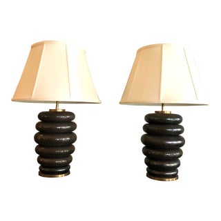 Contemporary Stacked Table Lamps - a Pair For Sale