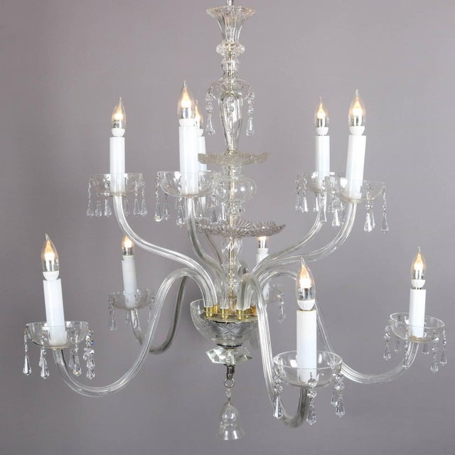 Transparent Oversized European Ten-Light Crystal Chandelier, 20th Century For Sale - Image 8 of 11