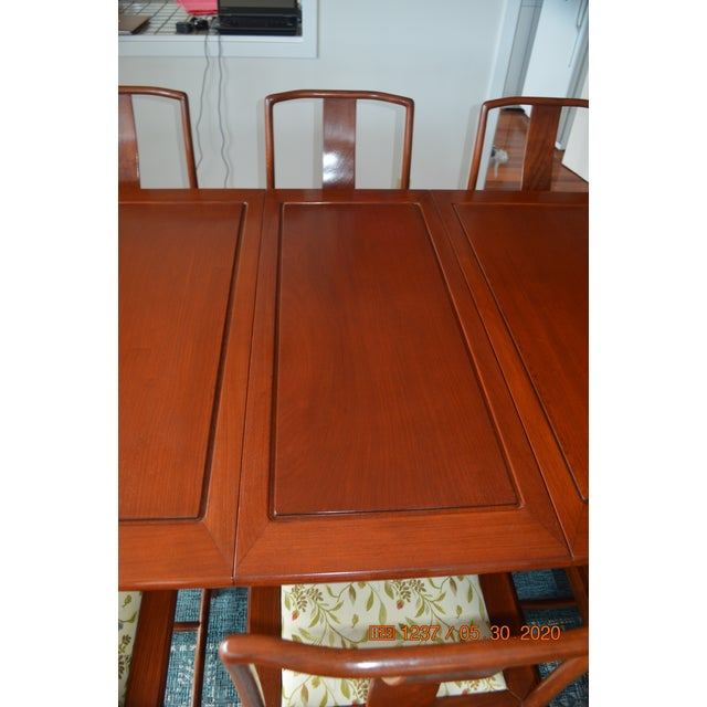 Asian Solid Rosewood Dining Set, Extension Table With 8 Chairs For Sale - Image 3 of 9