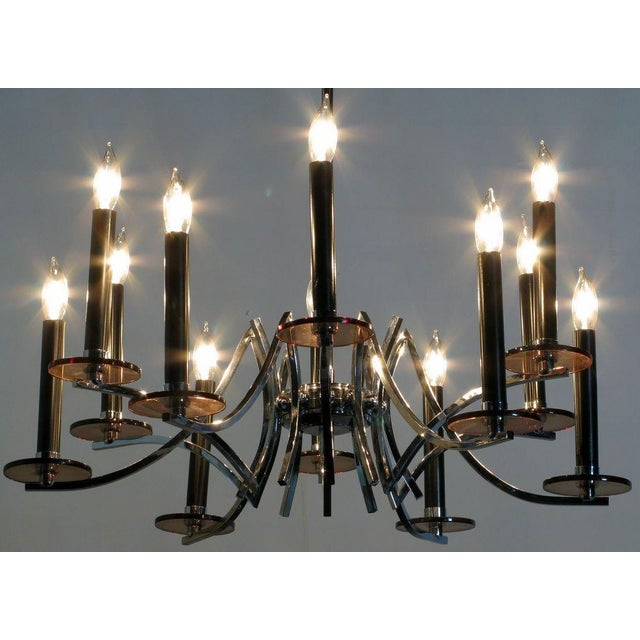 Modern Chrome & Smoked Lucite Twelve-Arm Chandelier For Sale - Image 3 of 6