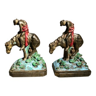 C. 1910 Arabs on Horses Bronze Bookends - a Pair For Sale
