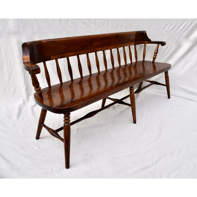 Wood Farmhouse Pine Spindle Back Bench For Sale - Image 7 of 10