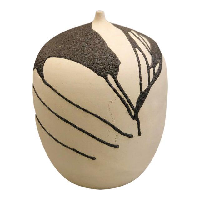 Ceramic Vase With Lava Glaze For Sale