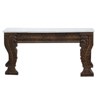 White Top Peacock Carved Console Table