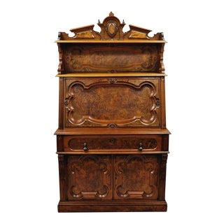 Renaissance Revival Carved Burl Walnut Secretary Desk