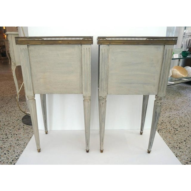 Pair of Louis XVI Style Bedside Chest Painted Grey with Brass Gadroon and Marble - Image 4 of 6