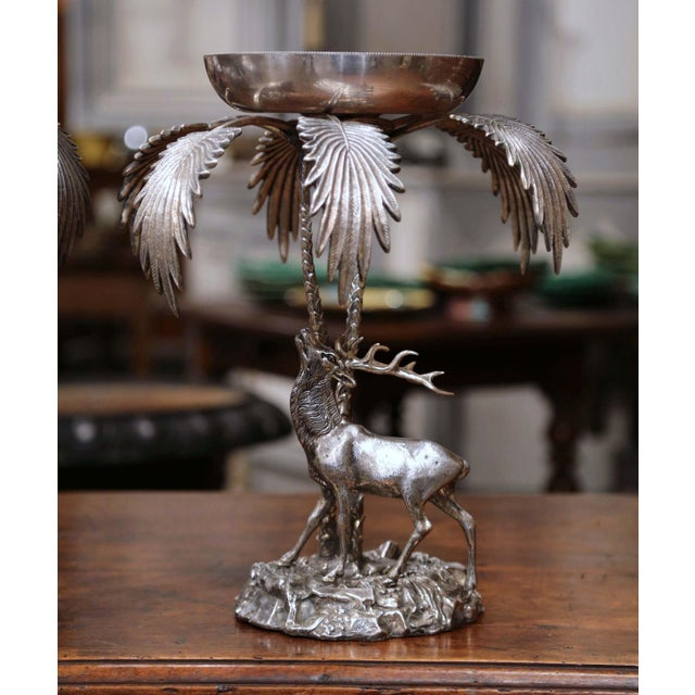 Art Deco Pair of Early 20th Century Silvered Bronze Centerpieces With Deer Sculpture For Sale - Image 3 of 12