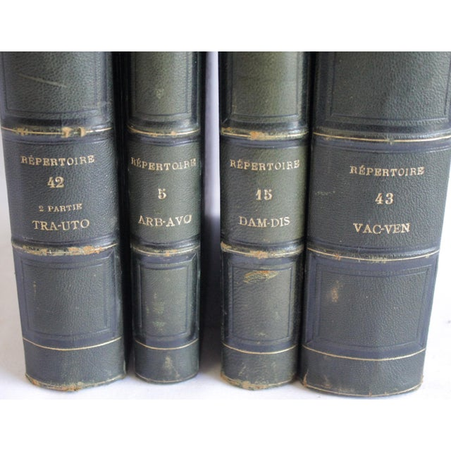 "Set of 4 Antique Leather Bound Books Dalloz Jurisprudence from 1862 Measures: 6.75""W(All of them together) x 9""D x 10.75""H..."