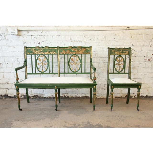 Green Antique Italian Hand-Carved & Painted Cherub Accent Chair For Sale - Image 8 of 9