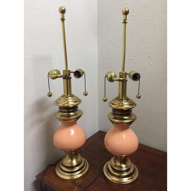 Vintage Stiffel Peach Ceramic and Brass Table Lamps With Earring Pull Switch - a Pair For Sale - Image 6 of 6