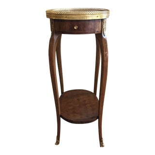 1920s Louis XV Oval One-Drawer Side Table