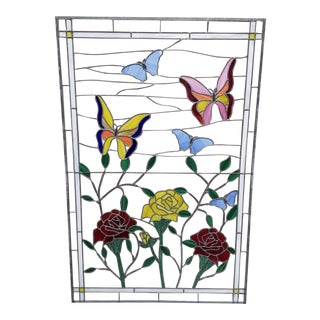 Boho Chic Butterflies and Roses Stained Glass Window Panel For Sale