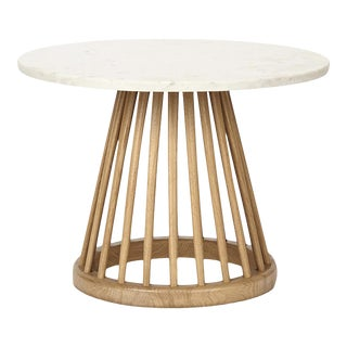 Tom Dixon Fan Table Natural Base White Marble Top 600mm For Sale