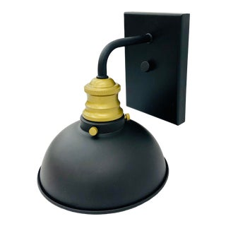 Industrial Style Black Metal & Brass Wall Sconce For Sale