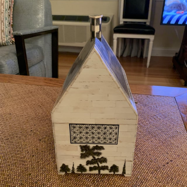 Ivory 1990s John Rosselli Hand Painted House Shaped Money Box For Sale - Image 8 of 10