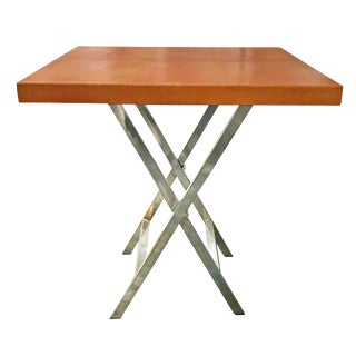Orange Shagreen Side Table For Sale
