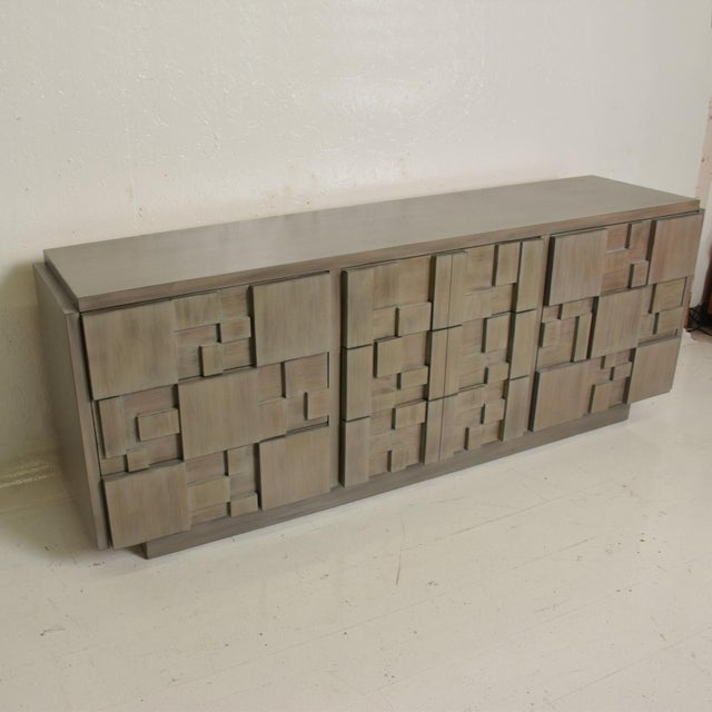 1970s Lane Mid-Century Modern Brutalist Credenza Dresser in Custom Grey Finish For Sale - Image 5 of 8