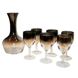 1970s French Silver Ombre Carafe & Cordial Set of 7 For Sale
