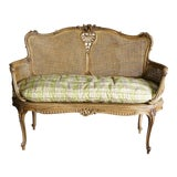 Image of Early 20th Century Antique French Carved Cane Settee For Sale