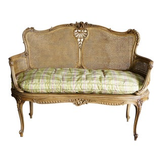 Early 20th Century Antique French Carved Cane Settee For Sale