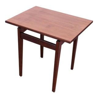 Sculptural Jens Risom Walnut Side Table For Sale