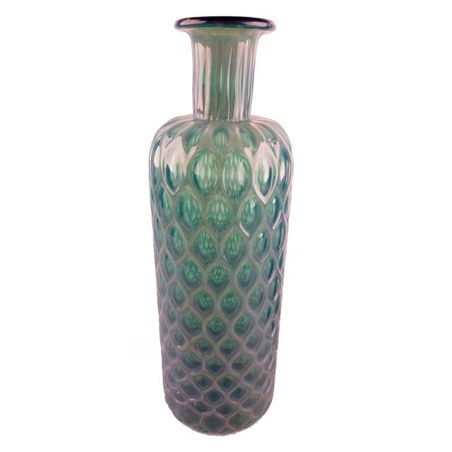 Incredible Green Blue Handblown Glass Vases A Pair Decaso
