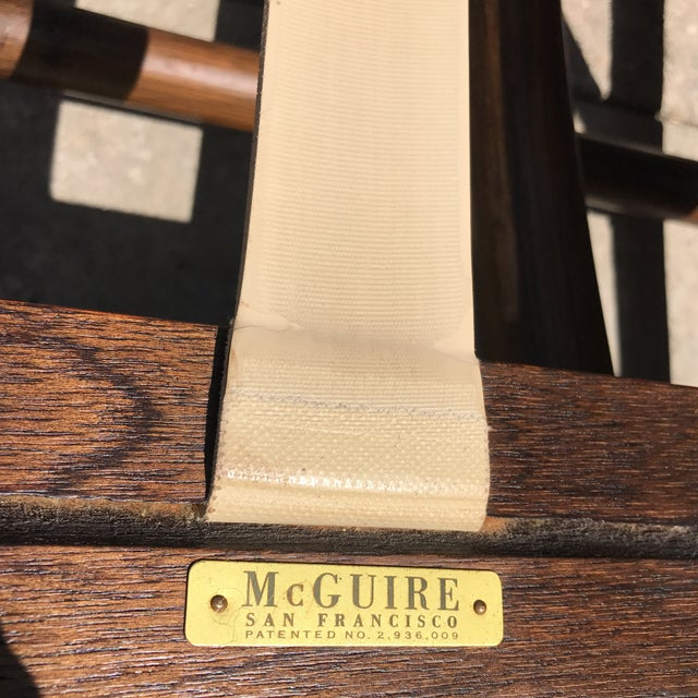 Vintage McGuire Bamboo and Linen Upholstered Lounge Chair & Ottoman - Image 8 of 10