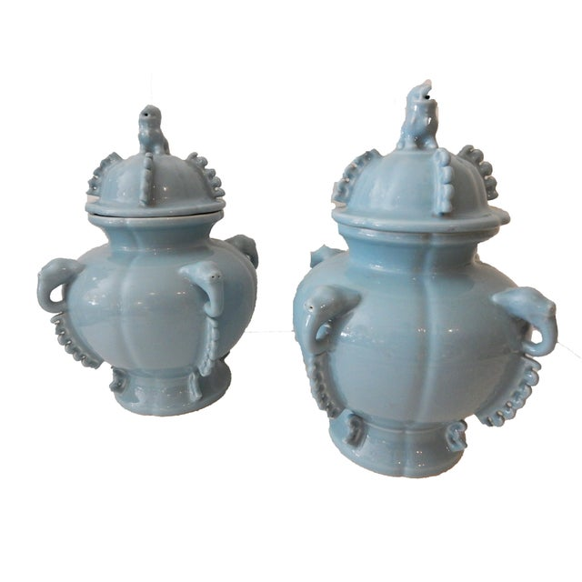 Blue Foo Dog Ginger Jars - A Pair - Image 2 of 5