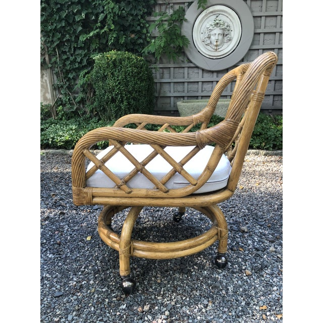Boho Chic Mid-Century Franco Albini Style Rattan Swivel Dining Chairs - Set of 6 For Sale - Image 3 of 12