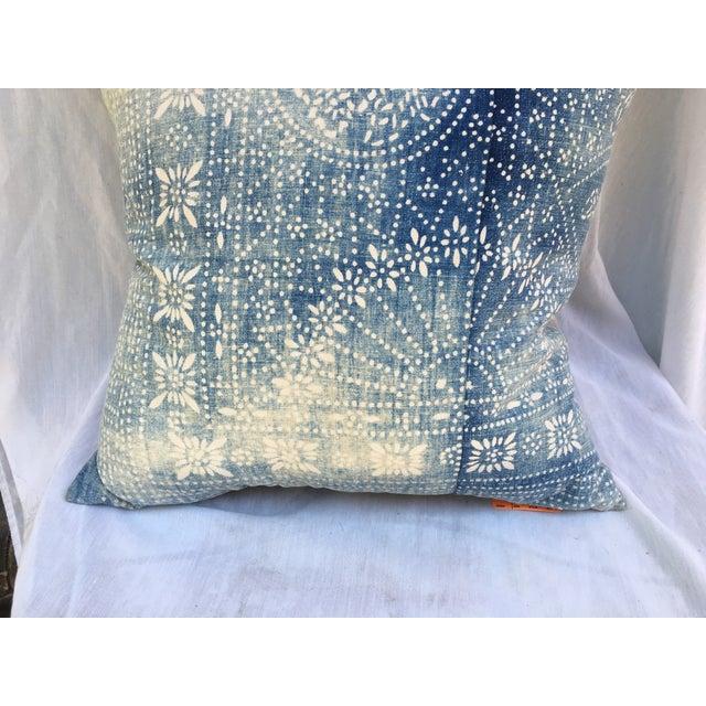 Bleached-Out Indigo Batik Pillow - Image 8 of 10