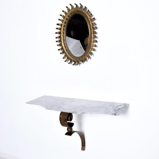 We are pleased to offer for your consideration, a stunning wall console constructed with forged iron, bronze and gray...