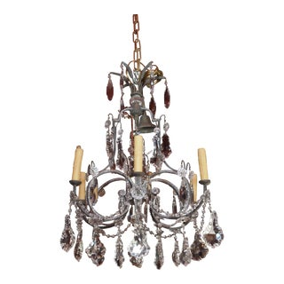 19th Century French Brass and Crystal Chandelier For Sale