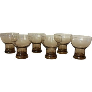 Mid-Century Modern Smoked Glasses - Set of 6 For Sale
