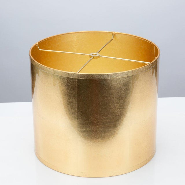 Modern Round Gold Foil Lamp Shade For Sale - Image 3 of 3
